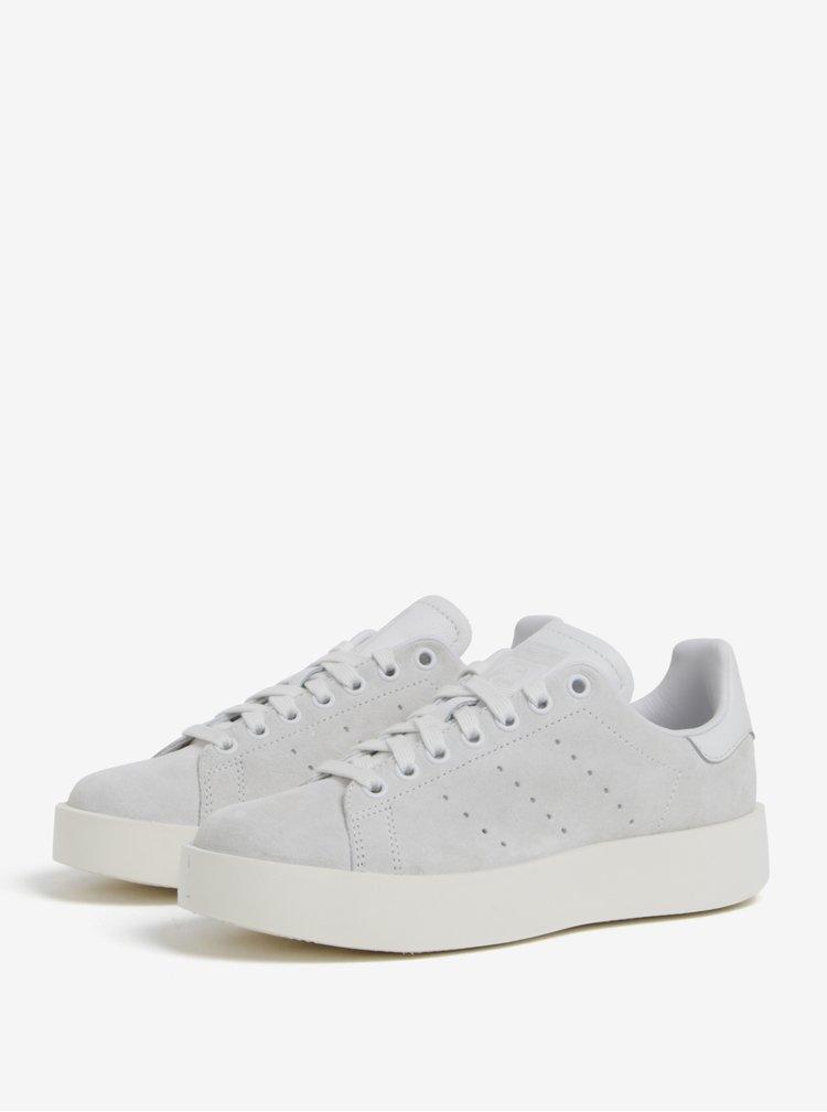 Světle šedé dámské semišové tenisky na platformě adidas Originals Stan Smith Bold