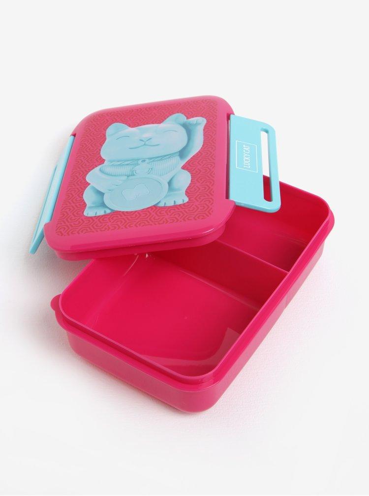 Modro-růžový box na jídlo s motivem kočky Mustard