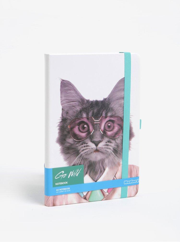 Carnet A5 cu pagini punctate si print pisica - Mustard
