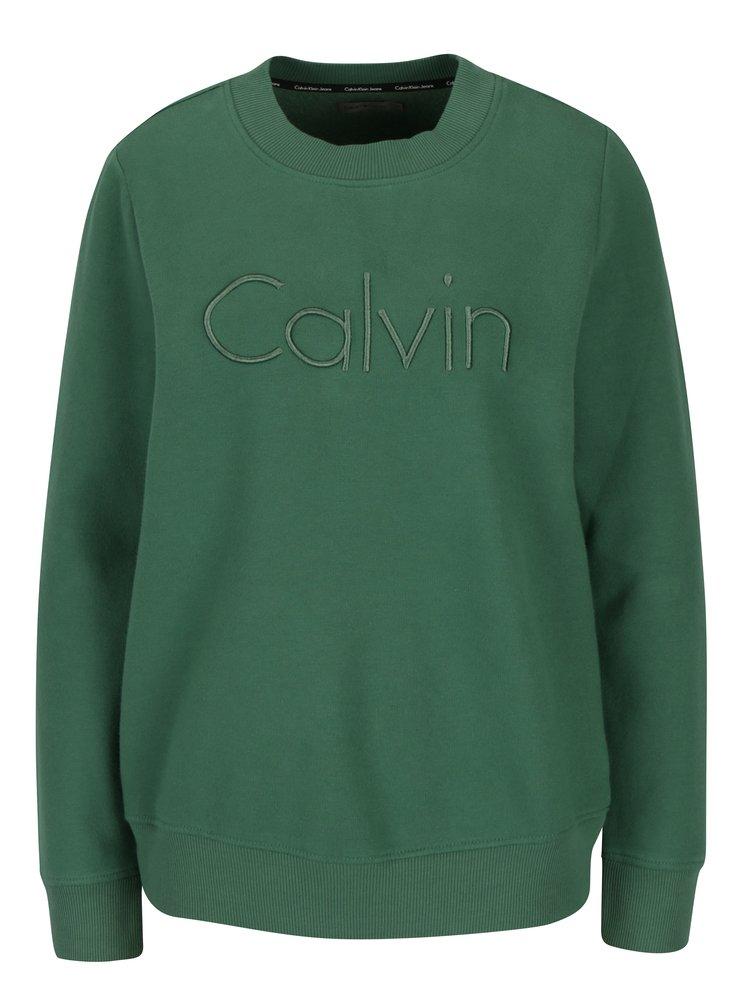 Zelená dámská mikina s výšivkou Calvin Klein Jeans Honci