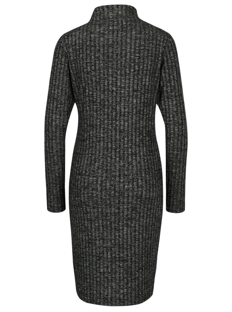 Šedé žíhané žebrované šaty Calvin Klein Jeans Dilon
