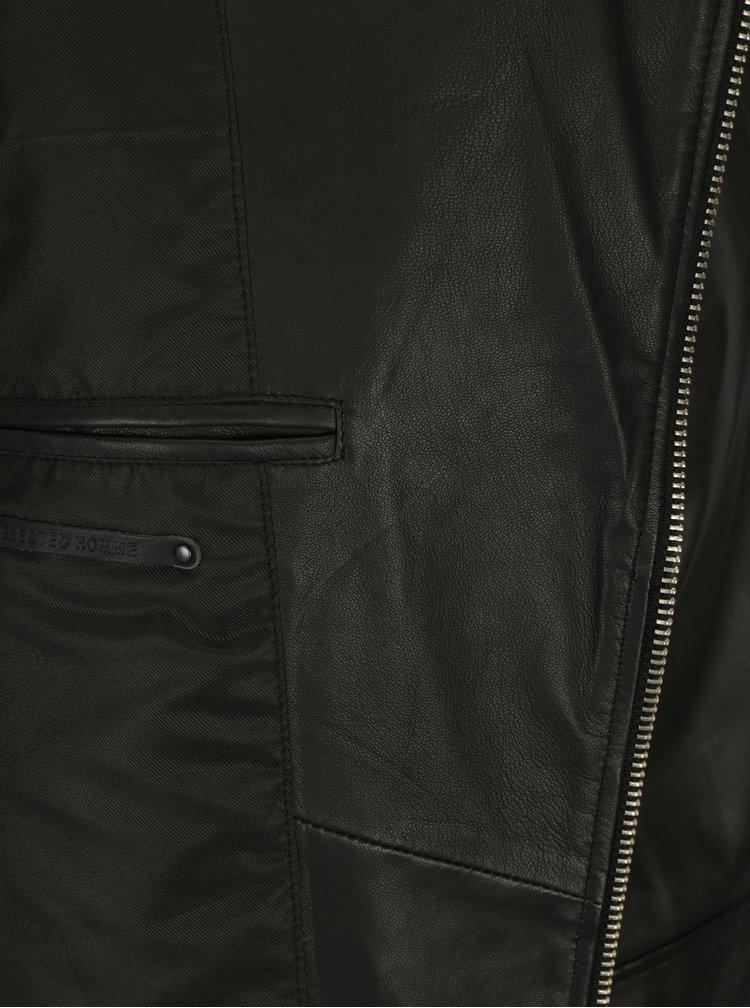 Černý kožený křivák Selected Homme Seb