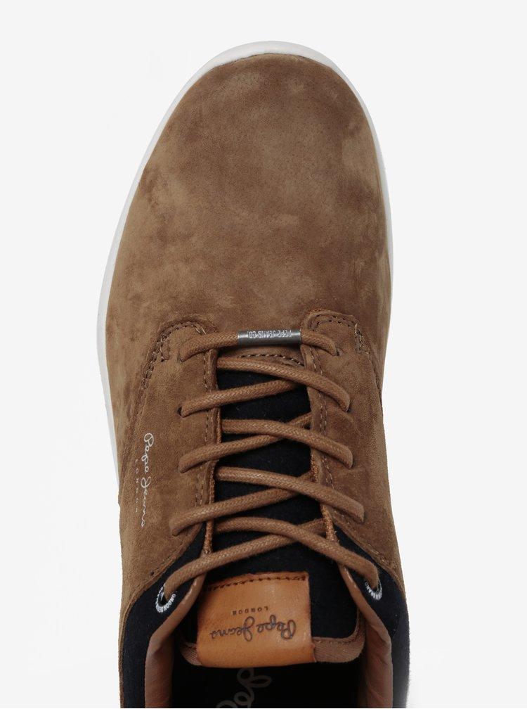 Pantofi sport maro din piele intoarsa Pepe Jeans Jayden
