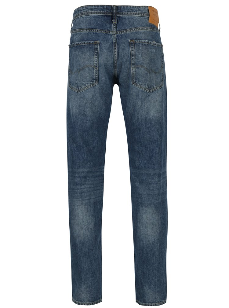 Modré comfort fit džíny s potrhaným efektem Jack & Jones Mike