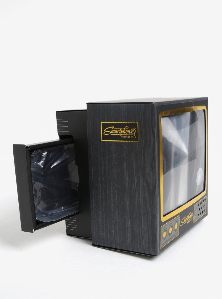 Zlato-šedý zvětšovač ke smartphonu ve tvaru televize Luckies