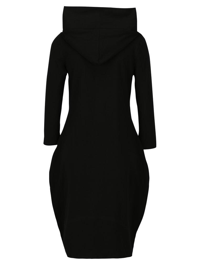Černé balónové mikinové šaty s potiskem Mikela da Luka
