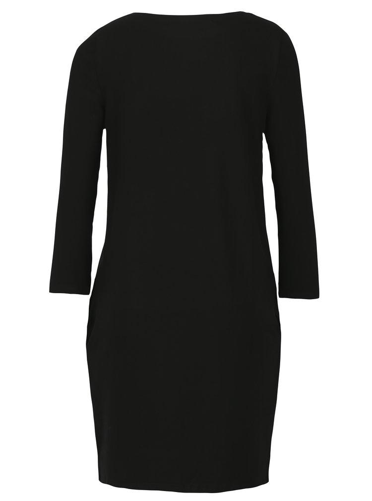 Černé šaty s potiskem a 3/4 rukávem Mikela da Luka