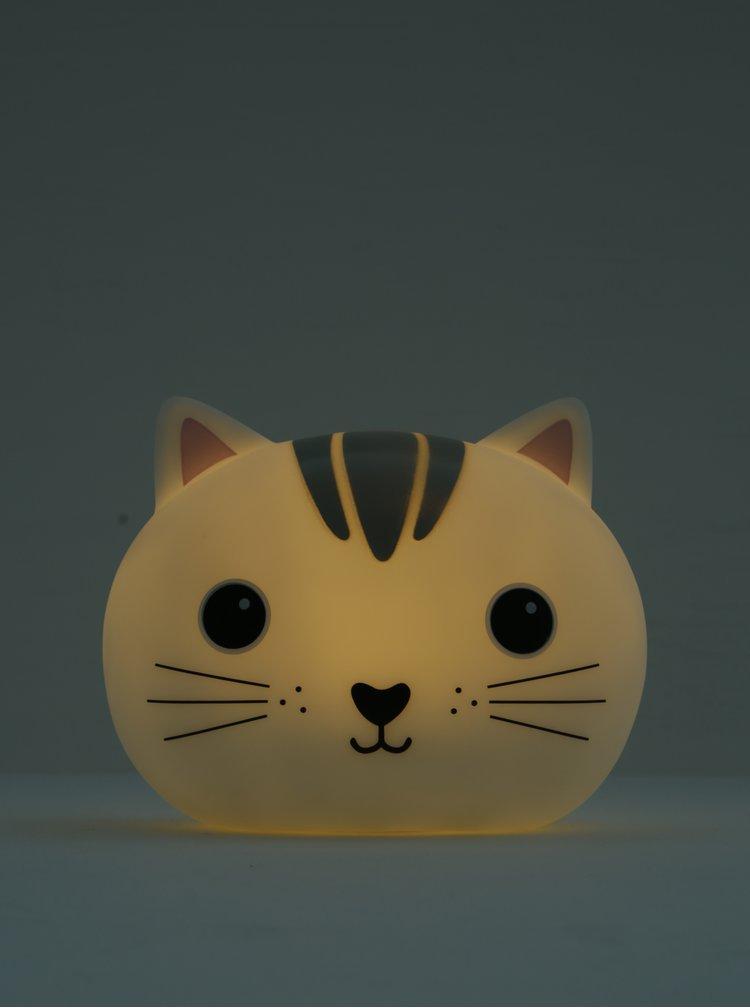 Šedá noční LED lampička ve tvaru kočky Sass & Belle