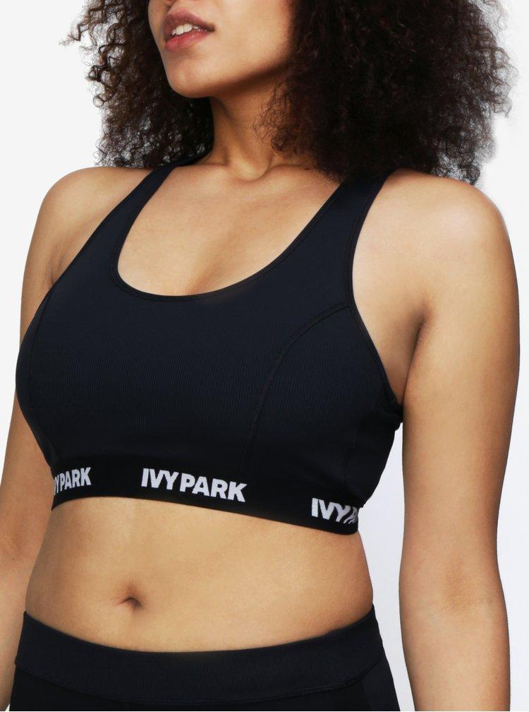 Tmavě šedá sportovní žebrovaná podprsenka Ivy Park