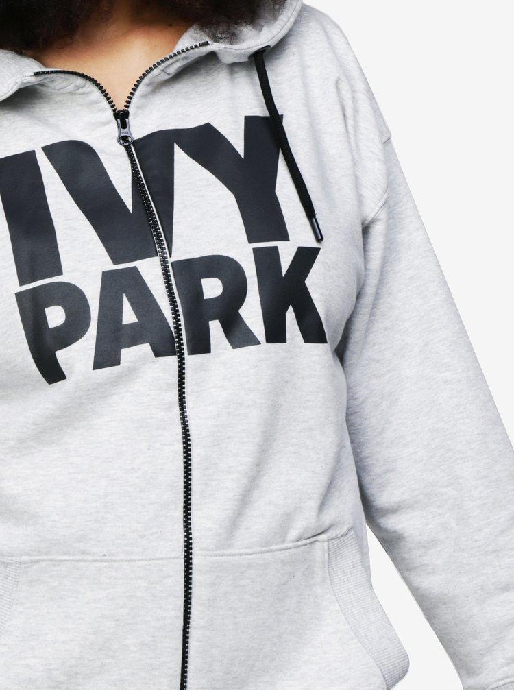 Šedá mikina se zipem a potiskem Ivy Park