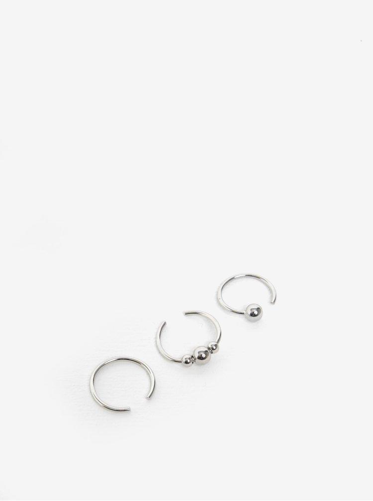 Sada tří prstýnků ve stříbrné barvě Pieces Luna