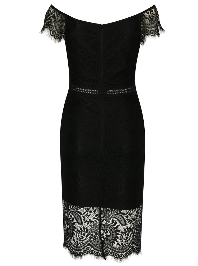 Černé pouzdrové krajkové šaty s tvarovaným dekoltem AX Paris