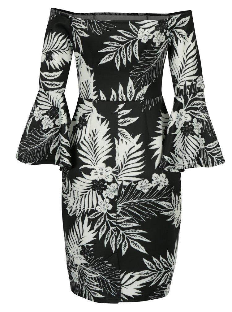 Krémovo-černé vzorované šaty s holými rameny a zvonovými rukávy Dorothy Perkins