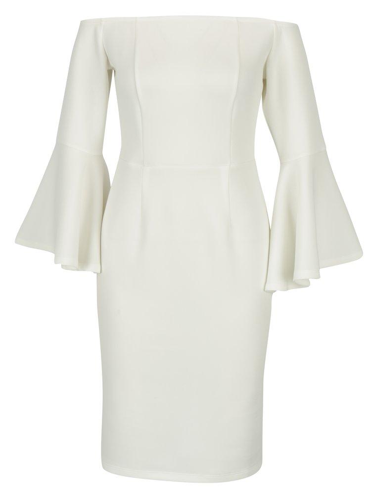 Krémové šaty s holými rameny a zvonovými rukávy Dorothy Perkins