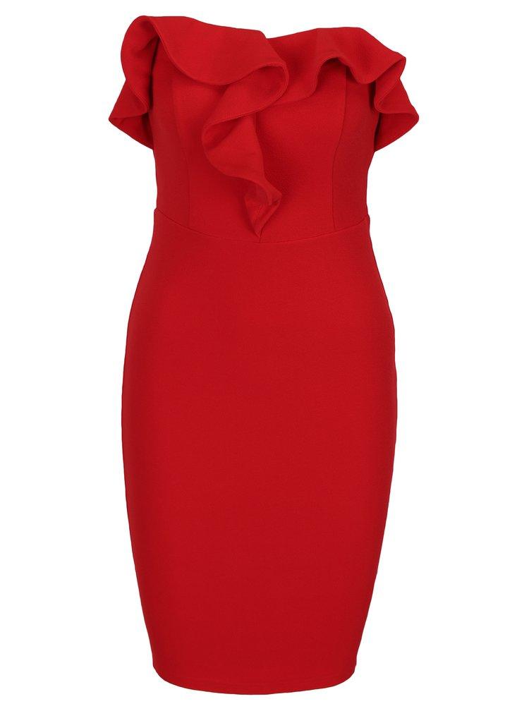 Červené pouzdrové šaty s volánem a odhalenými rameny AX Paris