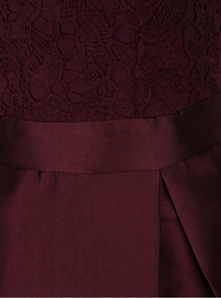 Vínové šaty s krajkovým topem a skládanou sukní AX Paris