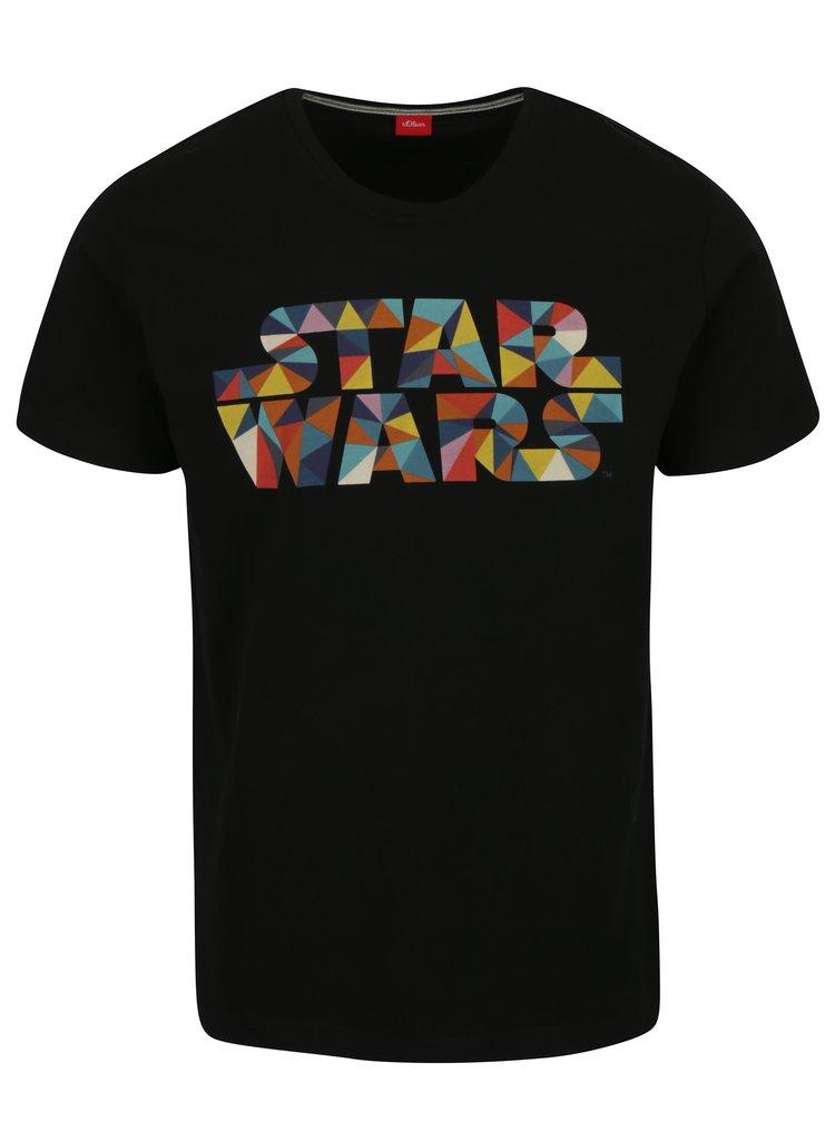 Tricou slim fit negru cu print logo Star Wars pentru barbati  s.Oliver
