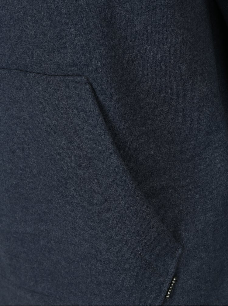 Modrá pánská žíhaná mikina s límcem s.Oliver