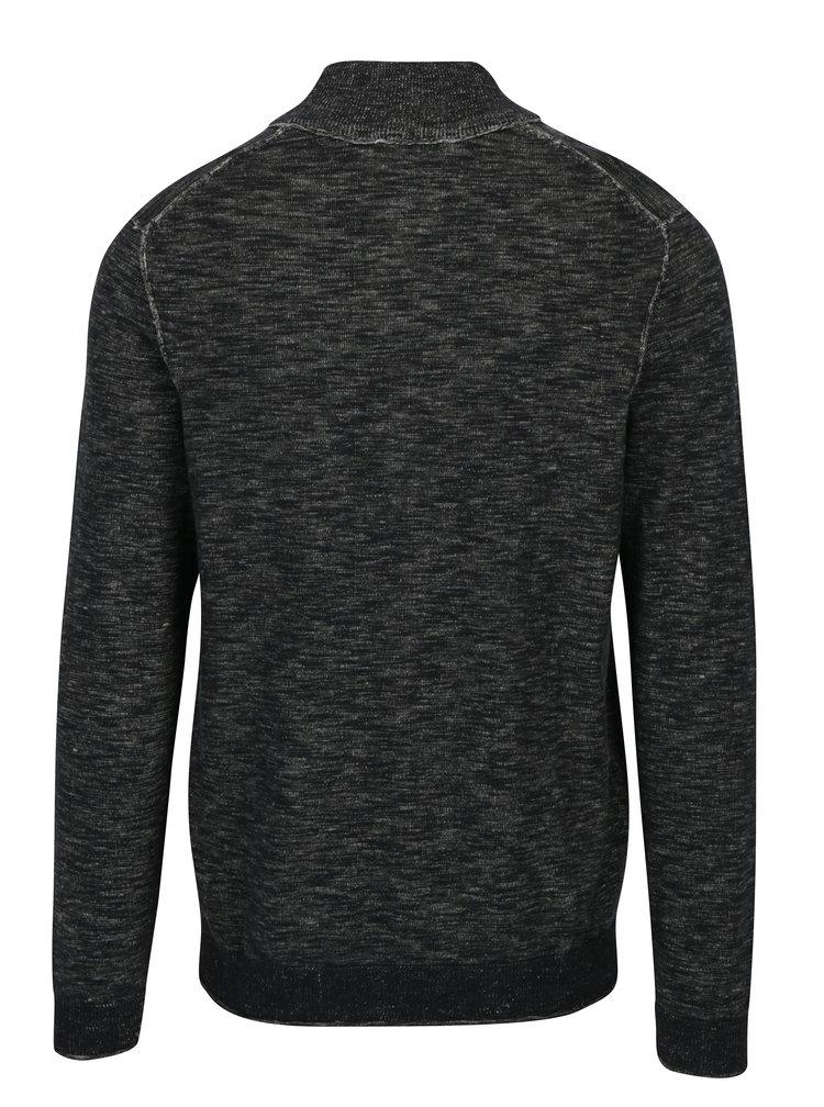 Šedý pánský žíhaný svetr se zipem s.Oliver