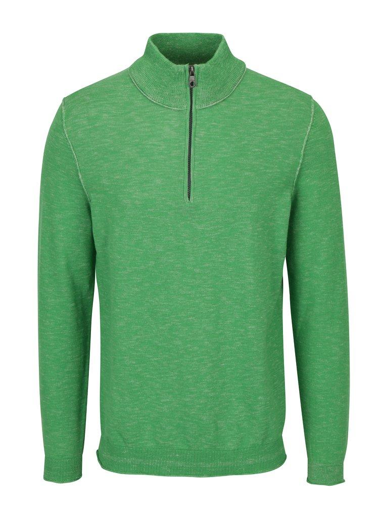 Zelený pánský žíhaný svetr se zipem s.Oliver