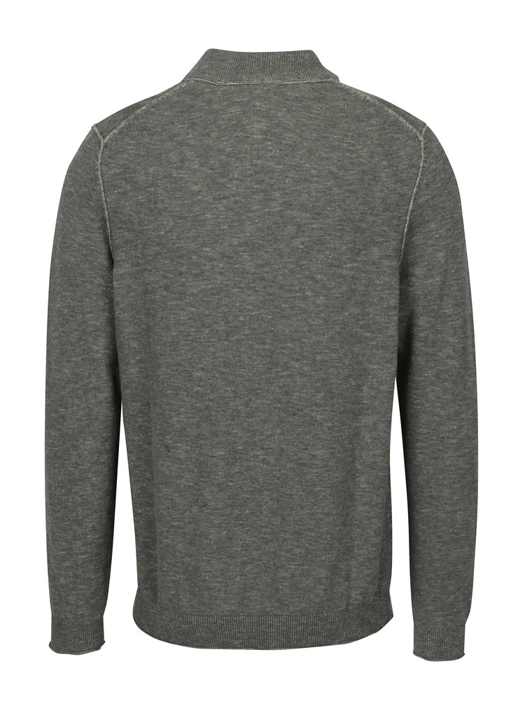 Světle šedý pánský žíhaný svetr se zipem s.Oliver