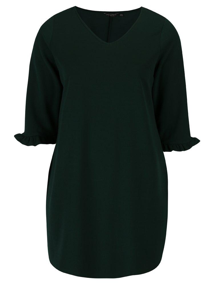 Tmavě zelené šaty s 3/4 rukávem s volánem Dorothy Perkins Curve