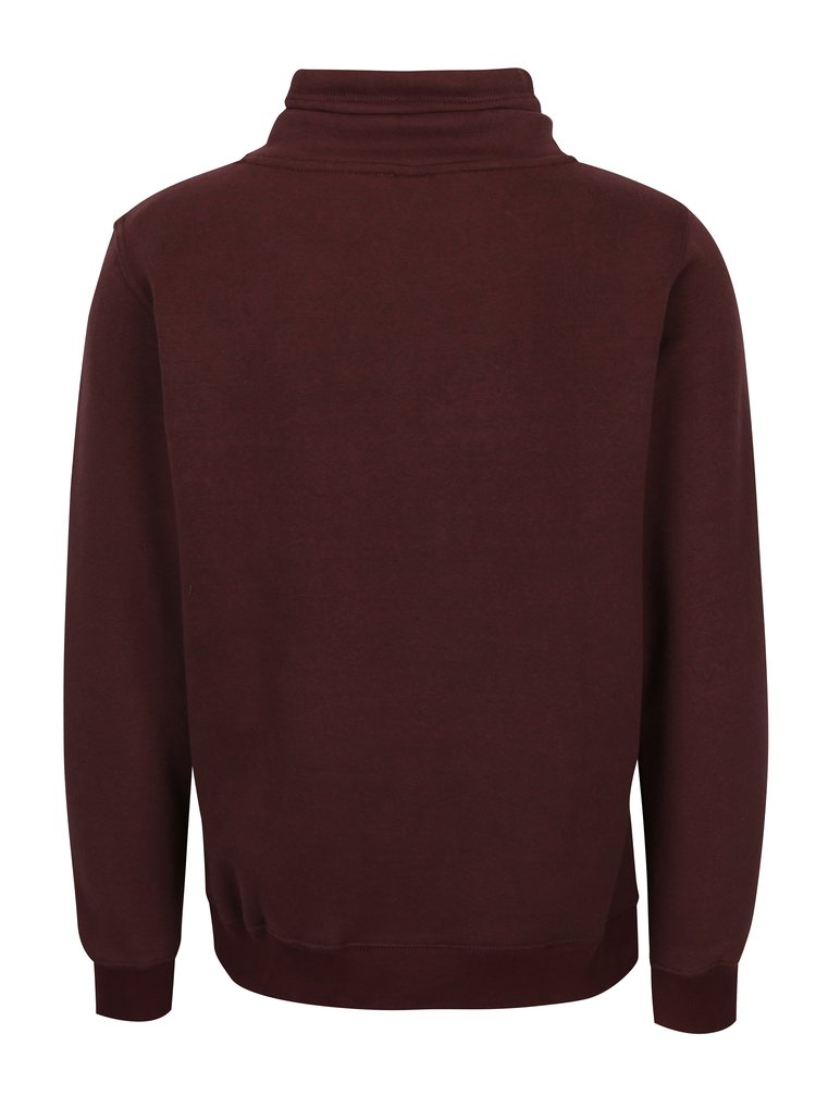 Bluza bordo cu print logo si guler inalt pentru barbati s.Oliver