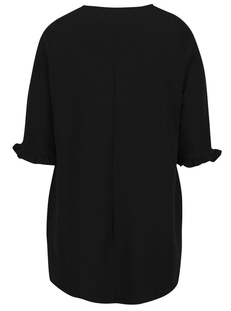 Černé šaty s 3/4 rukávem s volánem Dorothy Perkins Curve