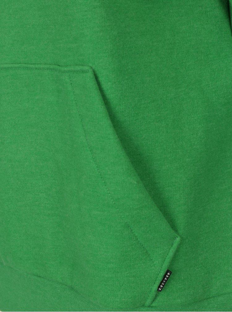 Zelená pánská mikina s vysokým límcem s.Oliver