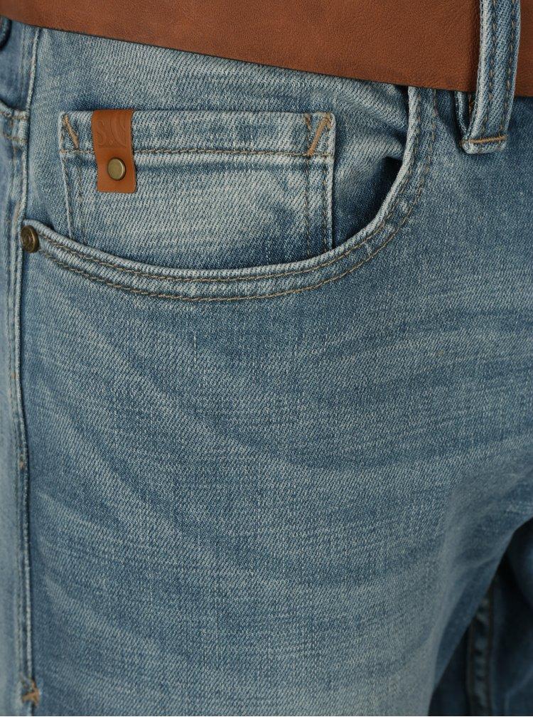 Modré pánské slim fit džíny s opraným efektem a páskem s.Oliver