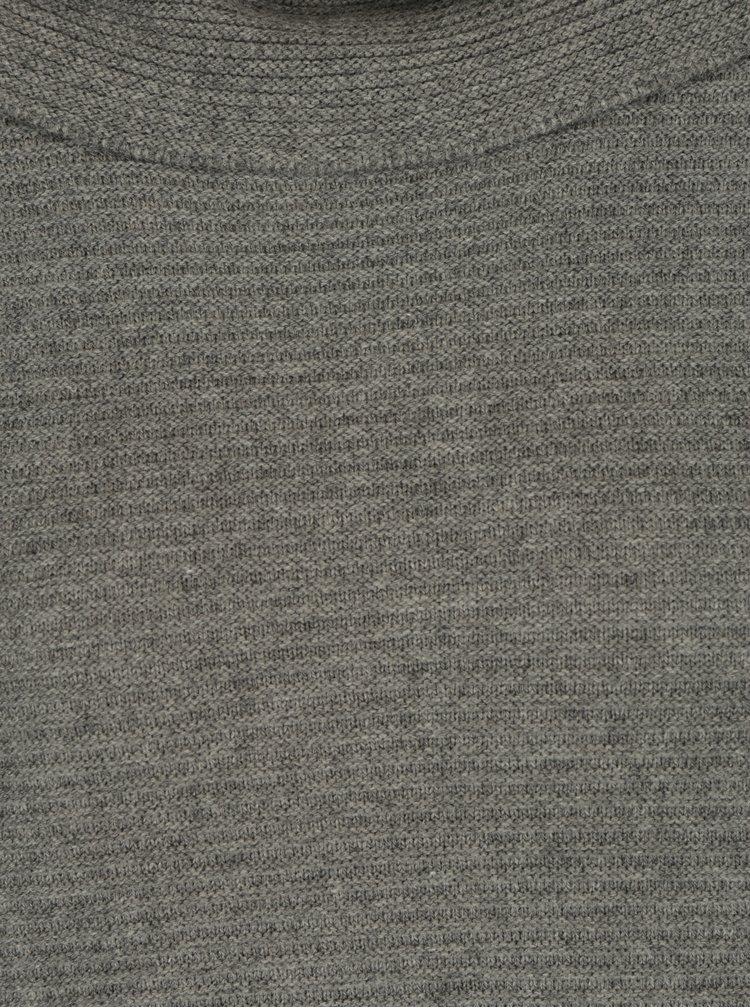 Šedé volné svetrové šaty s dlouhým rukávem a límcem s.Oliver