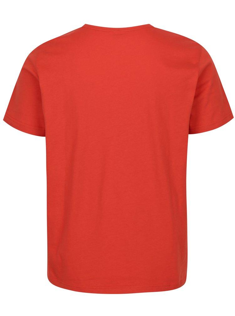 Tricou regular fit rosu cu print logos.Oliver