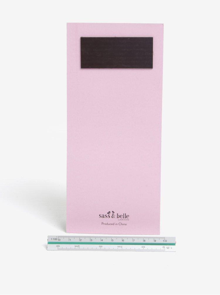 Růžový plánovací blok s magnetem Sass & Belle