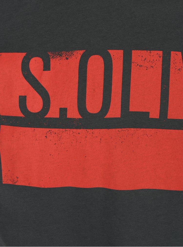 Tmavě šedé pánské regular fit tričko s potiskem s.Oliver