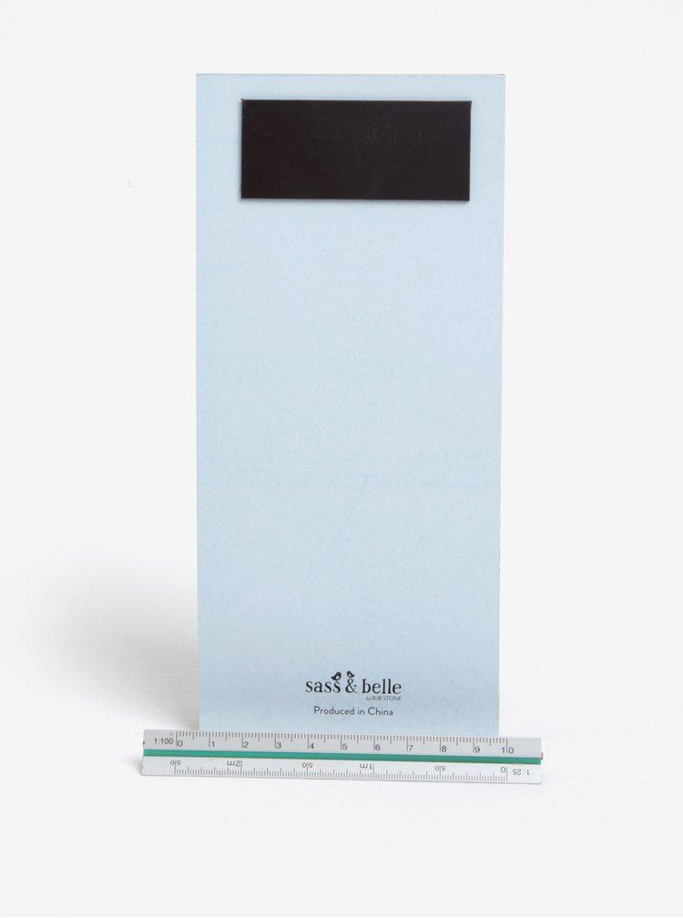 Světle modrý plánovací blok s magnetem Sass & Belle