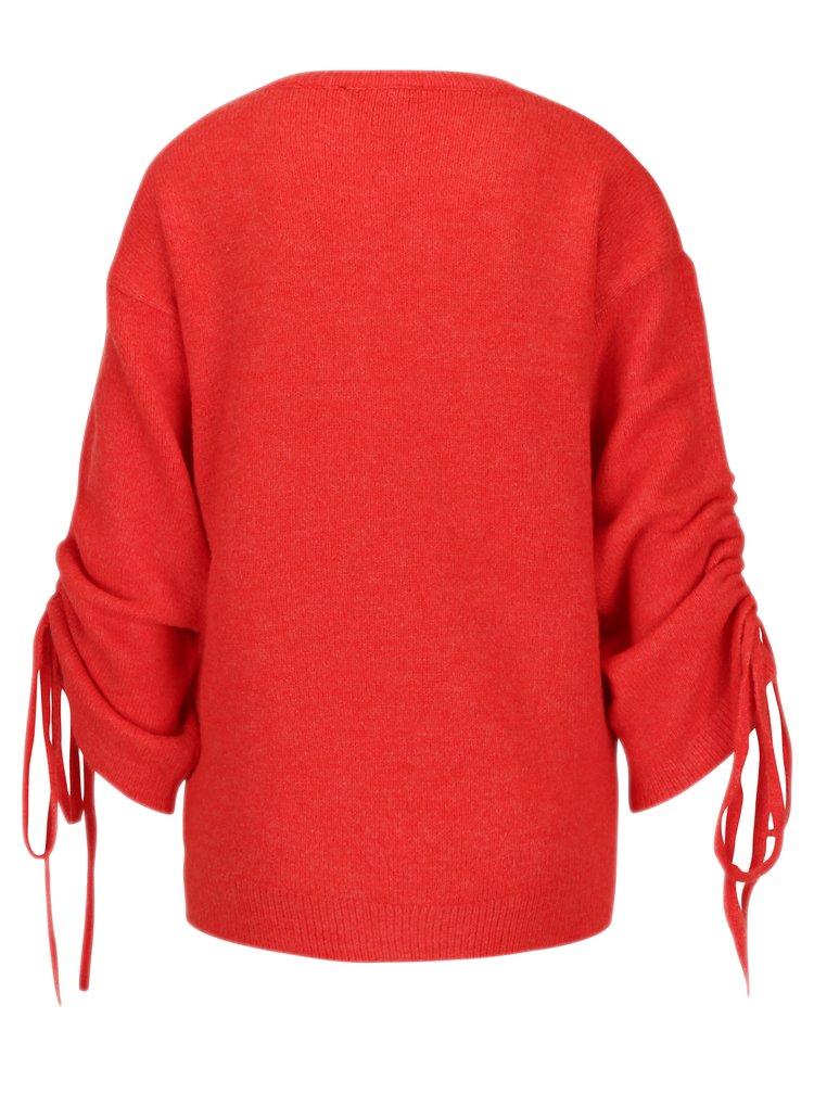 Červený svetr se stahováním na rukávech Dorothy Perkins