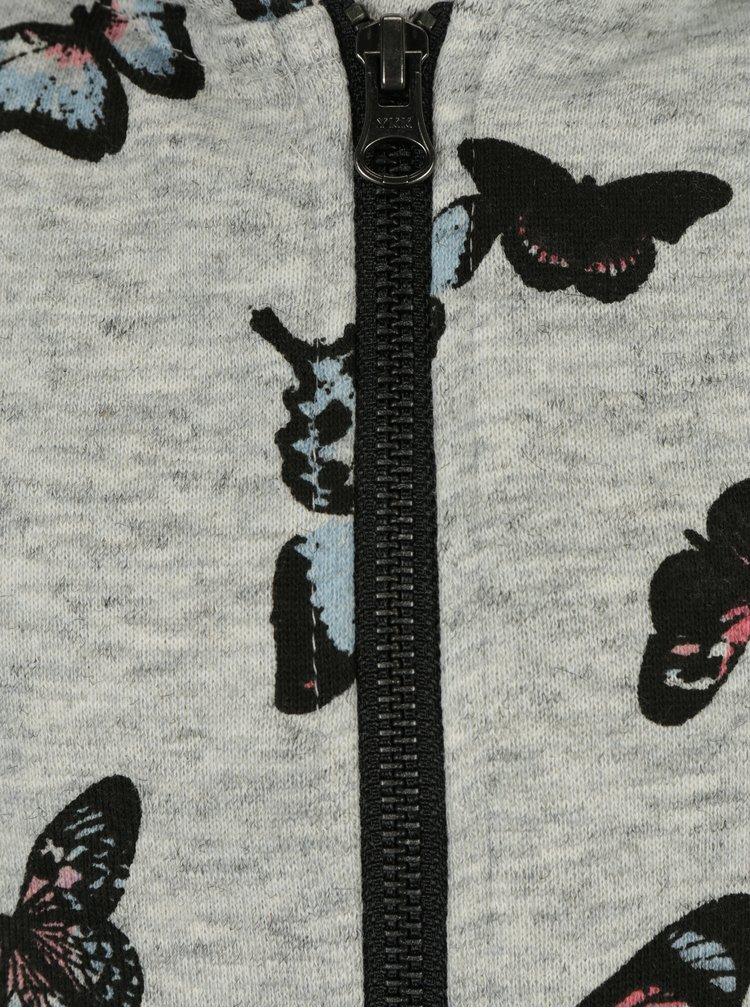 Šedá holčíčí mikina na zip s potiskem motýlů name it Kutter