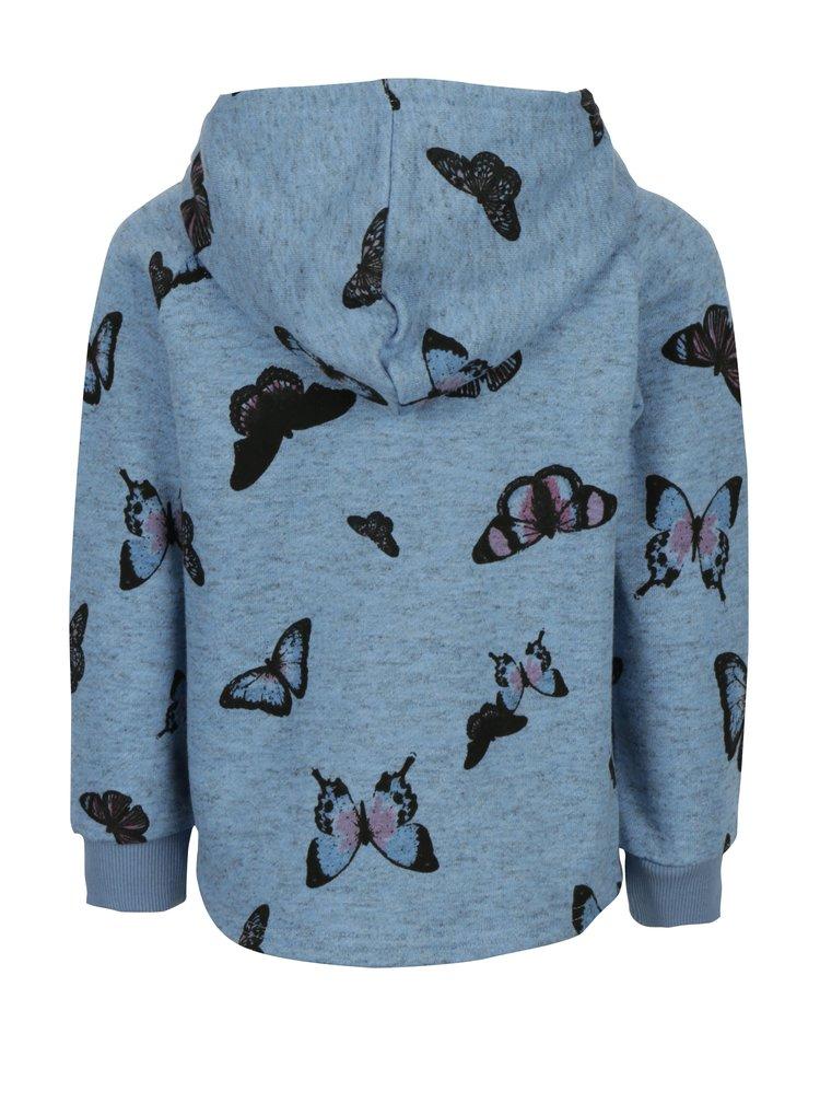 Modrá holčíčí mikina na zip s potiskem motýlů name it Kutter