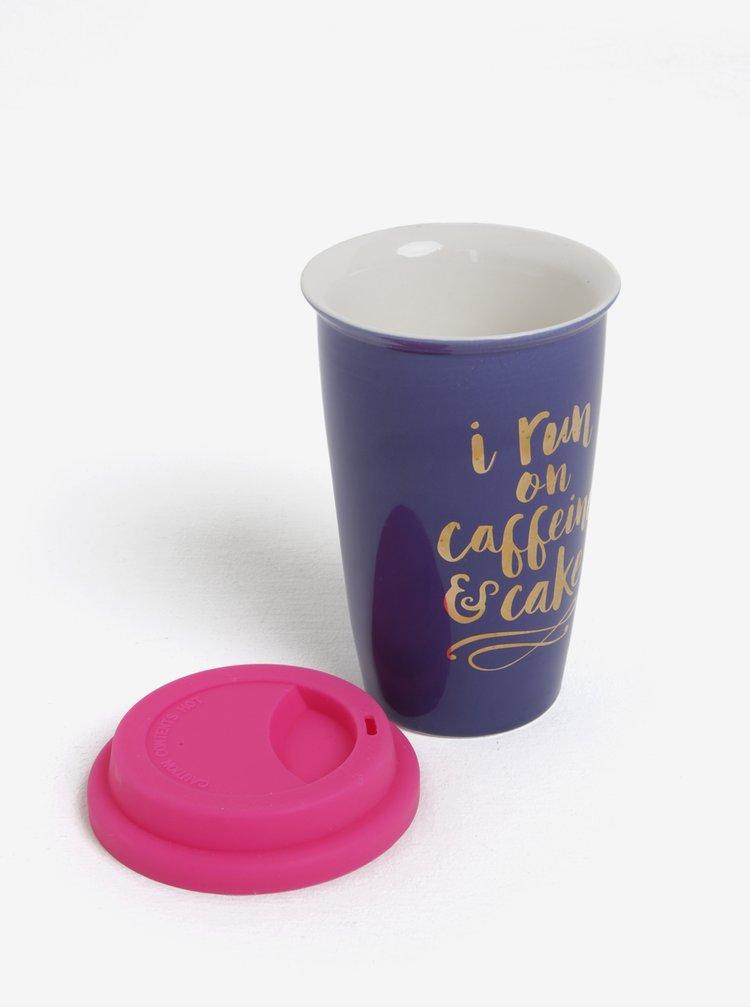 Růžovo-modrý cestovní porcelánový hrnek CGB