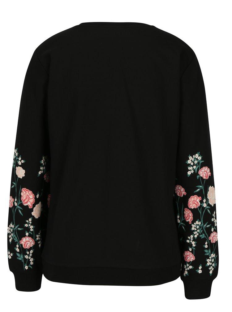 Bluza neagra cu print floral pe maneci Dorothy Perkins