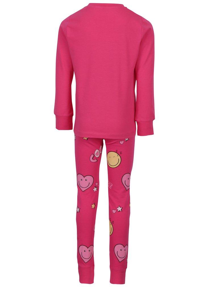 Růžové holčičí pyžamo s potiskem name it Happy