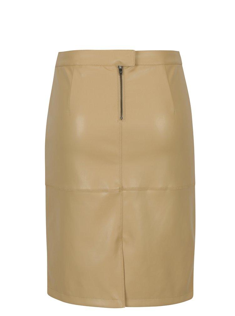 Béžová koženková sukně VILA Pen