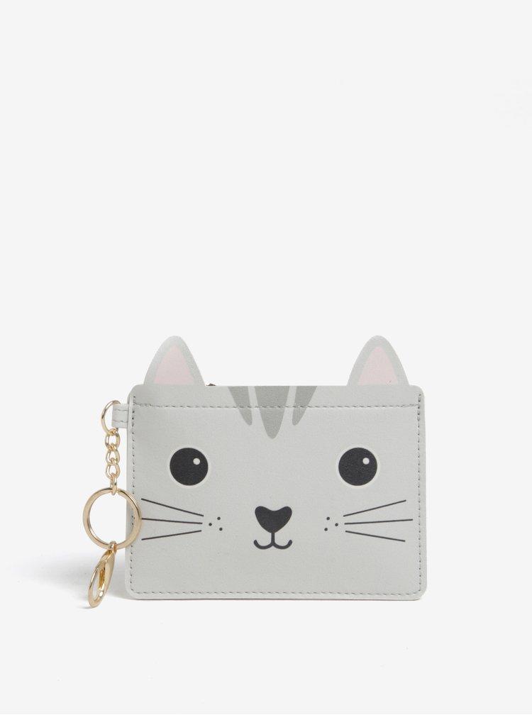Šedá peněženka na mince s motivem kočky Sass & Belle