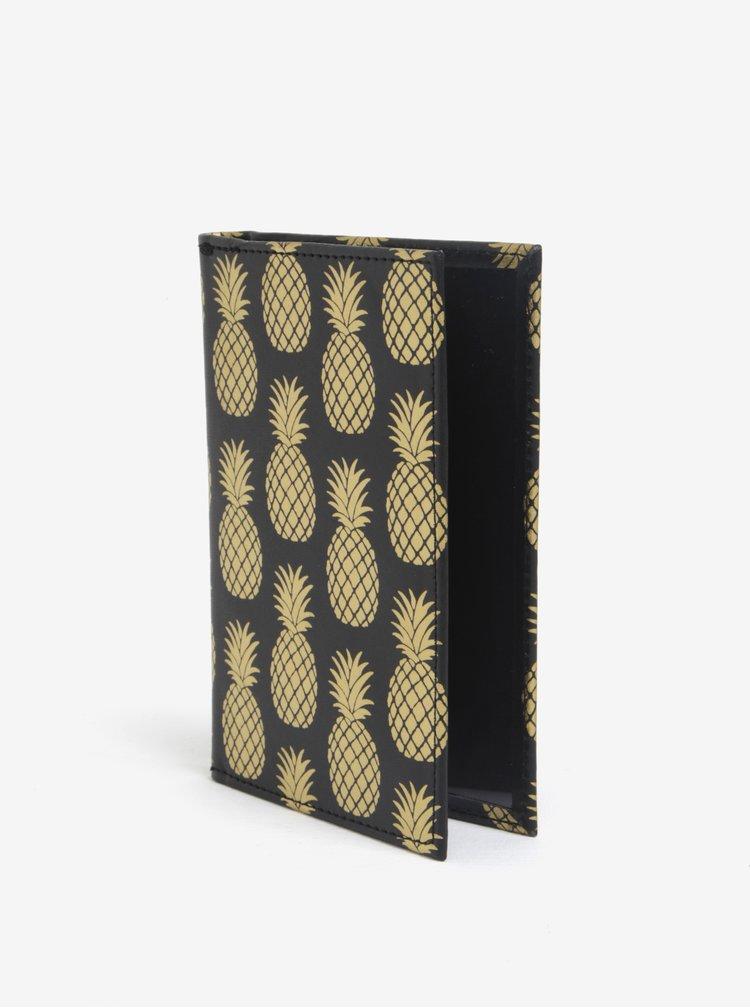 Černé pouzdro na doklady s motivem ananasů Sass & Belle