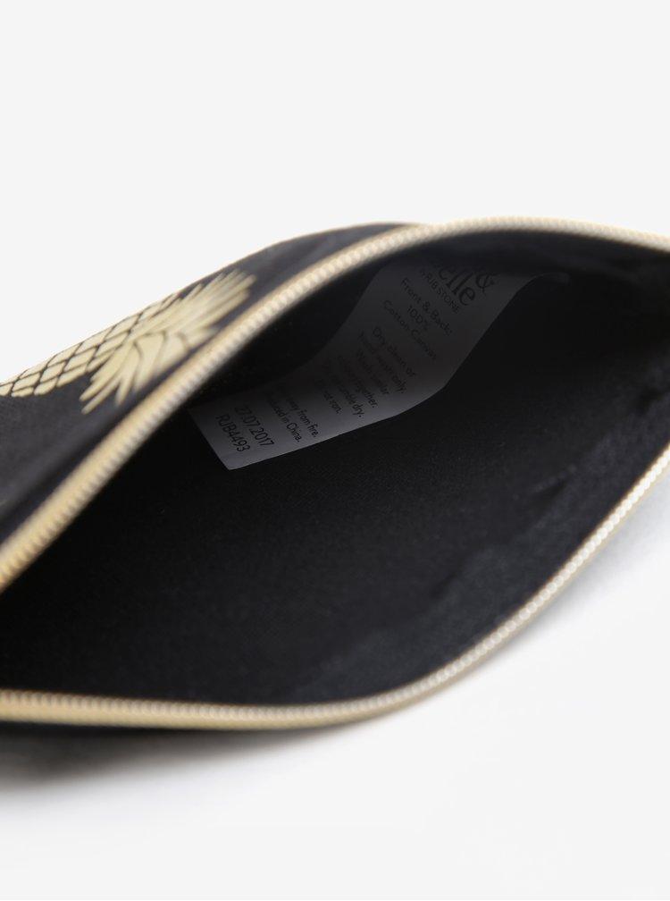 Černá peněženka na mince s motivem ananasů Sass & Belle