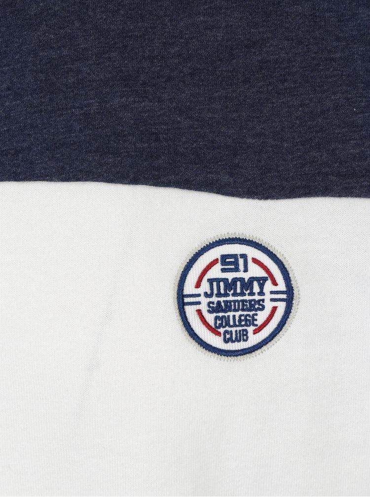 Modro-bílé pánské tričko s nášivkou Jimmy Sanders