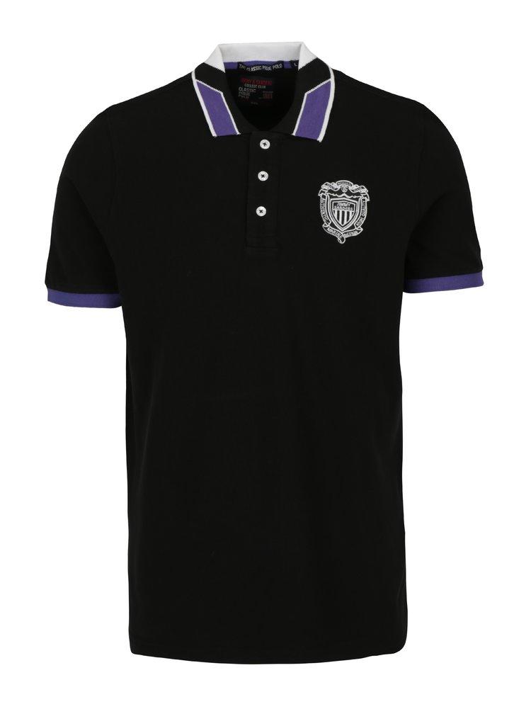Tricou polo negru cu logo brodat