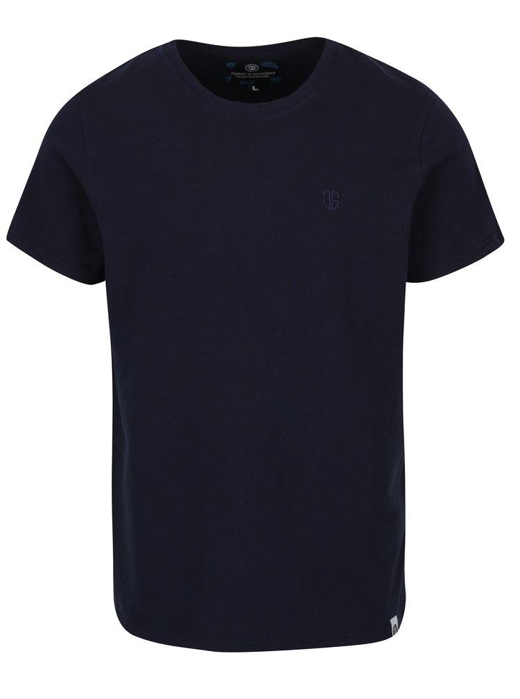 Tricou basic bleumarin cu logo brodat pentru barbati Jimmy Sanders
