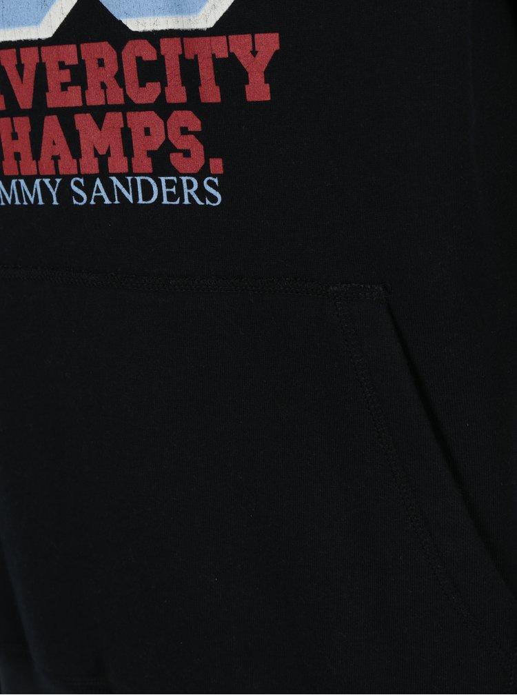 Černá pánská mikina s kapucí a potiskem Jimmy Sanders