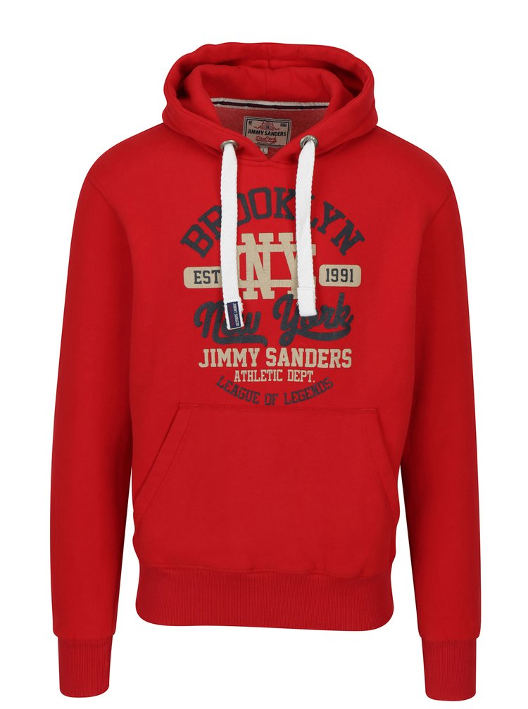 Červená pánská mikina s kapucí a potiskem Jimmy Sanders